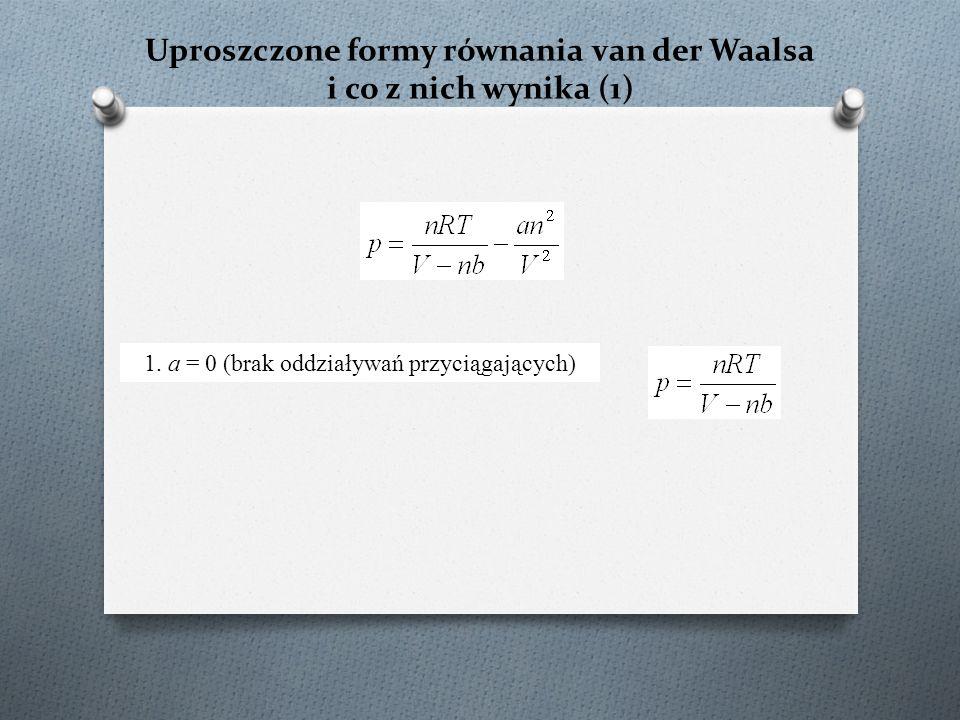 Uproszczone formy równania van der Waalsa i co z nich wynika (1) 1.