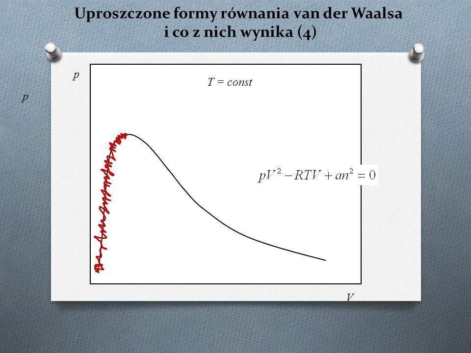 Uproszczone formy równania van der Waalsa i co z nich wynika (4) p T = const p V
