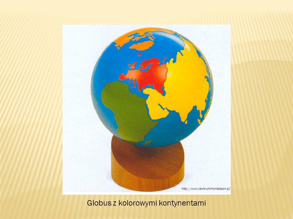 Globus z kolorowymi kontynentami http://www.centrummontessori.pl/
