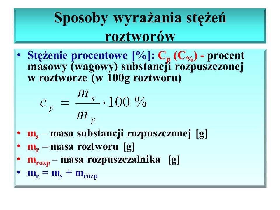 Sposoby wyrażania stężeń roztworów Stężenie procentowe [%]: C p (C % ) - procent masowy (wagowy) substancji rozpuszczonej w roztworze (w 100g roztworu