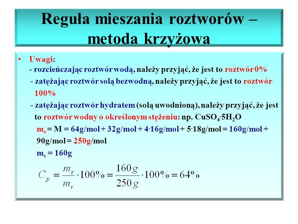 Reguła mieszania roztworów – metoda krzyżowa Uwagi: - rozcieńczając roztwór wodą, należy przyjąć, że jest to roztwór 0% - zatężając roztwór solą bezwo