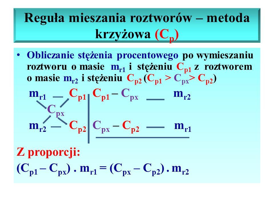 Reguła mieszania roztworów – metoda krzyżowa (C p ) Obliczanie stężenia procentowego po wymieszaniu roztworu o masie m r1 i stężeniu C p1 z roztworem