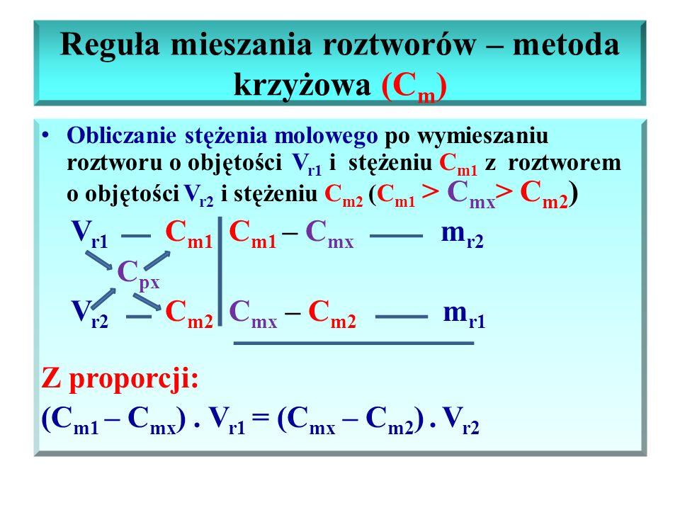 Reguła mieszania roztworów – metoda krzyżowa (C m ) Obliczanie stężenia molowego po wymieszaniu roztworu o objętości V r1 i stężeniu C m1 z roztworem