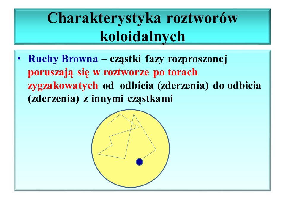 Charakterystyka roztworów koloidalnych Ruchy Browna – cząstki fazy rozproszonej poruszają się w roztworze po torach zygzakowatych od odbicia (zderzeni