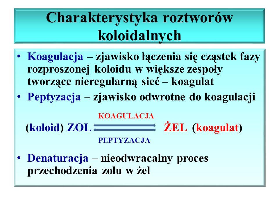 Charakterystyka roztworów koloidalnych Koagulacja – zjawisko łączenia się cząstek fazy rozproszonej koloidu w większe zespoły tworzące nieregularną si