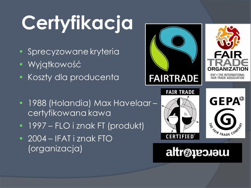 Certyfikacja Sprecyzowane kryteria Wyjątkowość Koszty dla producenta 1988 (Holandia) Max Havelaar – certyfikowana kawa 1997 – FLO i znak FT (produkt)  2004 – IFAT i znak FTO (organizacja) 