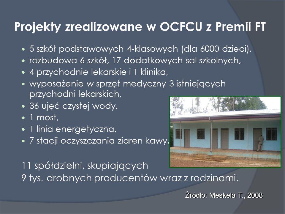 Projekty zrealizowane w OCFCU z Premii FT 5 szkół podstawowych 4-klasowych (dla 6000 dzieci), rozbudowa 6 szkół, 17 dodatkowych sal szkolnych, 4 przychodnie lekarskie i 1 klinika, wyposażenie w sprzęt medyczny 3 istniejących przychodni lekarskich, 36 ujęć czystej wody, 1 most, 1 linia energetyczna, 7 stacji oczyszczania ziaren kawy.