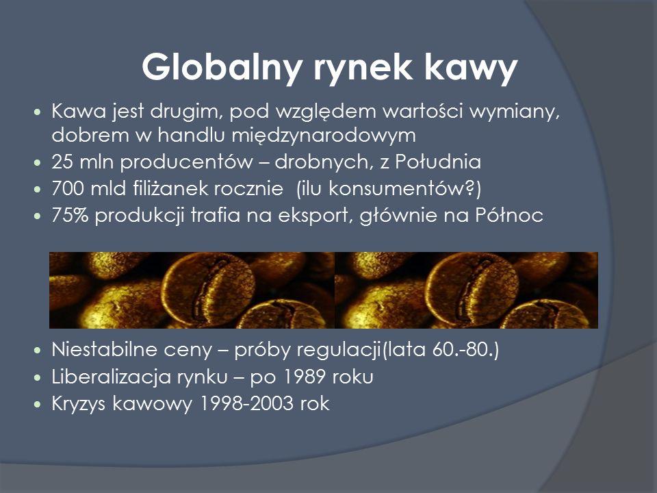 Globalny rynek kawy Kawa jest drugim, pod względem wartości wymiany, dobrem w handlu międzynarodowym 25 mln producentów – drobnych, z Południa 700 mld filiżanek rocznie (ilu konsumentów )  75% produkcji trafia na eksport, głównie na Północ Niestabilne ceny – próby regulacji(lata 60.-80.)  Liberalizacja rynku – po 1989 roku Kryzys kawowy 1998-2003 rok