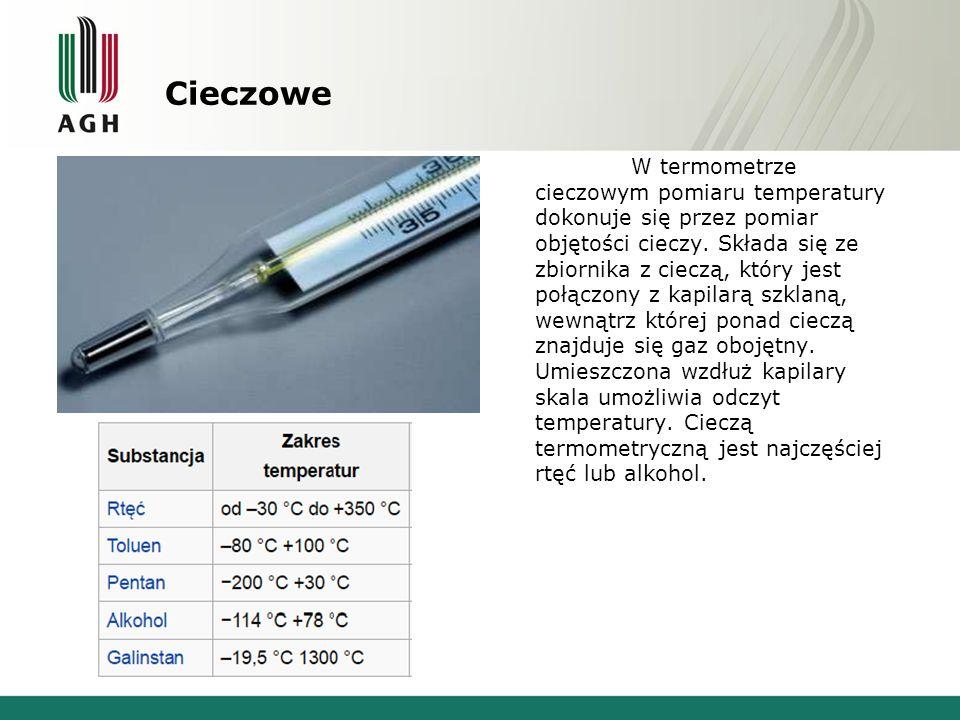 Cieczowe W termometrze cieczowym pomiaru temperatury dokonuje się przez pomiar objętości cieczy.