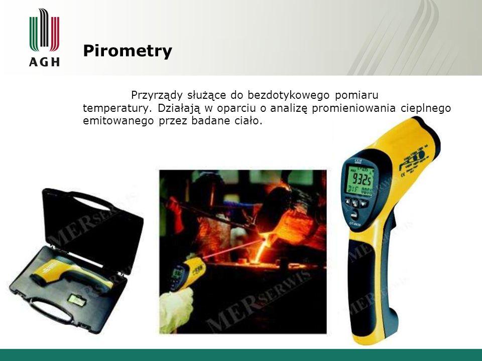 Pirometry Przyrządy służące do bezdotykowego pomiaru temperatury.