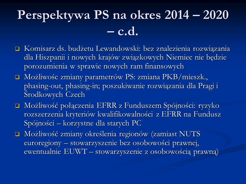 Perspektywa PS na okres 2014 – 2020 – c.d.  Komisarz ds. budżetu Lewandowski: bez znalezienia rozwiązania dla Hiszpanii i nowych krajów związkowych N