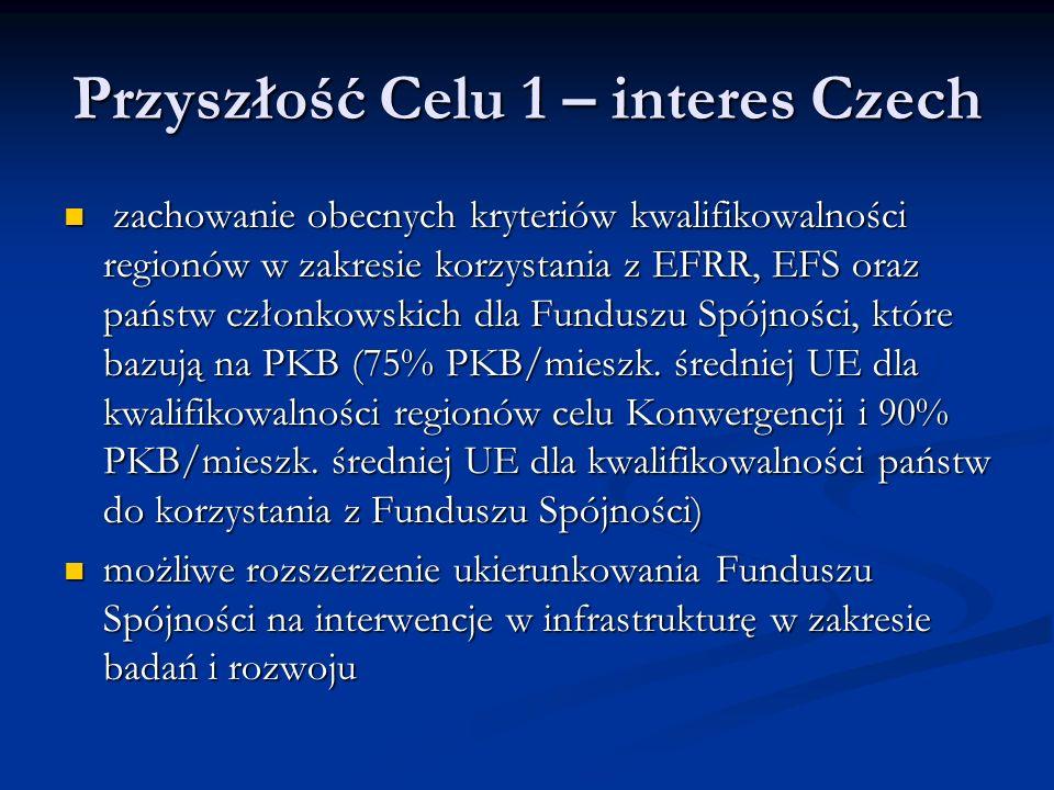 Przyszłość Celu 1 – interes Czech zachowanie obecnych kryteriów kwalifikowalności regionów w zakresie korzystania z EFRR, EFS oraz państw członkowskich dla Funduszu Spójności, które bazują na PKB (75% PKB/mieszk.
