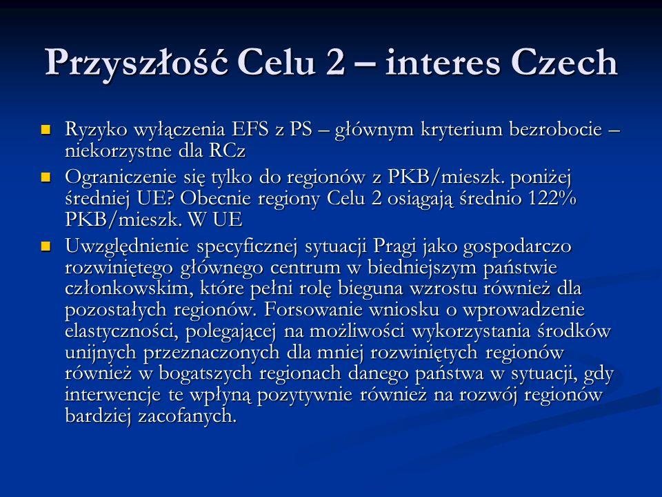 Przyszłość Celu 2 – interes Czech Ryzyko wyłączenia EFS z PS – głównym kryterium bezrobocie – niekorzystne dla RCz Ryzyko wyłączenia EFS z PS – głównym kryterium bezrobocie – niekorzystne dla RCz Ograniczenie się tylko do regionów z PKB/mieszk.