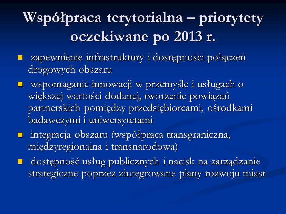 Współpraca terytorialna – priorytety oczekiwane po 2013 r. zapewnienie infrastruktury i dostępności połączeń drogowych obszaru zapewnienie infrastrukt