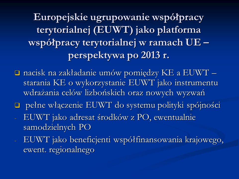 Europejskie ugrupowanie współpracy terytorialnej (EUWT) jako platforma współpracy terytorialnej w ramach UE – perspektywa po 2013 r.  nacisk na zakła