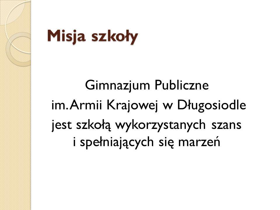 Misja szkoły Gimnazjum Publiczne im. Armii Krajowej w Długosiodle jest szkołą wykorzystanych szans i spełniających się marzeń
