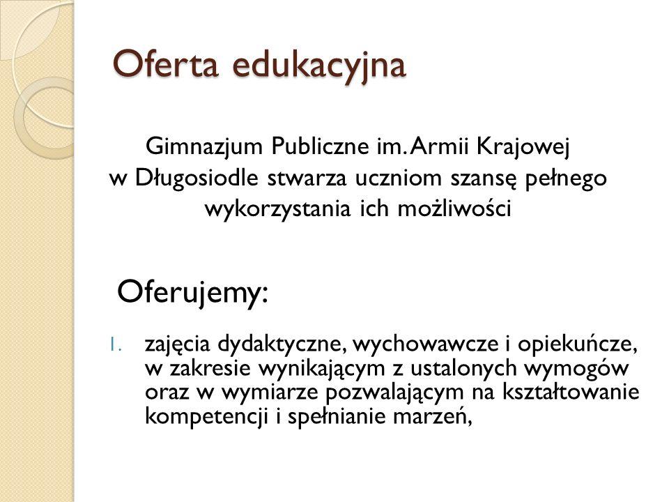 Oferta edukacyjna 1. zajęcia dydaktyczne, wychowawcze i opiekuńcze, w zakresie wynikającym z ustalonych wymogów oraz w wymiarze pozwalającym na kształ