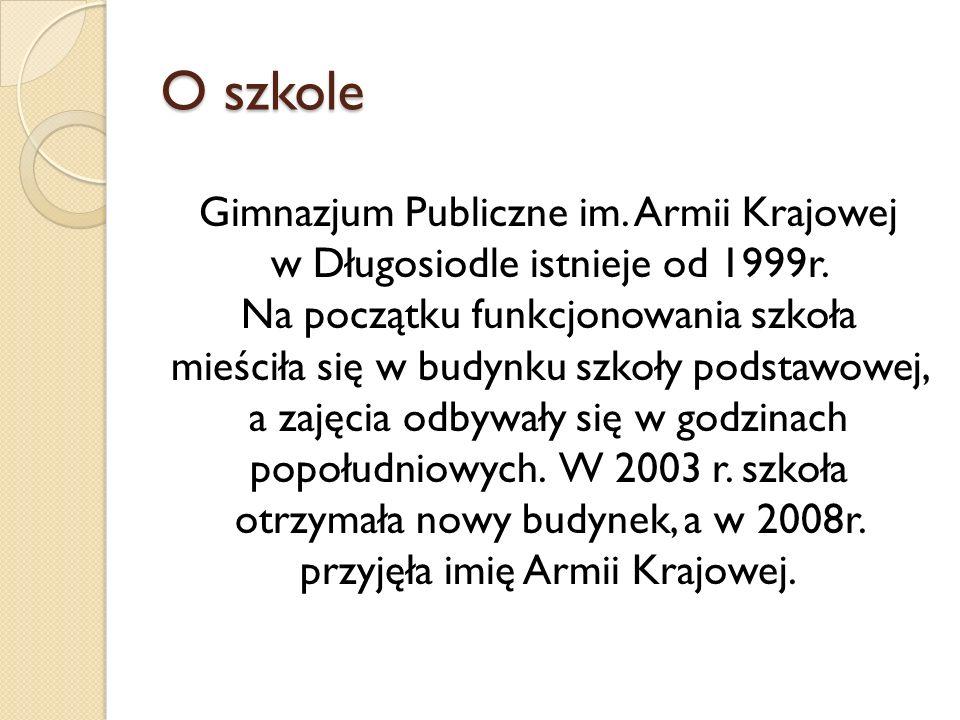 O szkole Gimnazjum Publiczne im. Armii Krajowej w Długosiodle istnieje od 1999r. Na początku funkcjonowania szkoła mieściła się w budynku szkoły podst