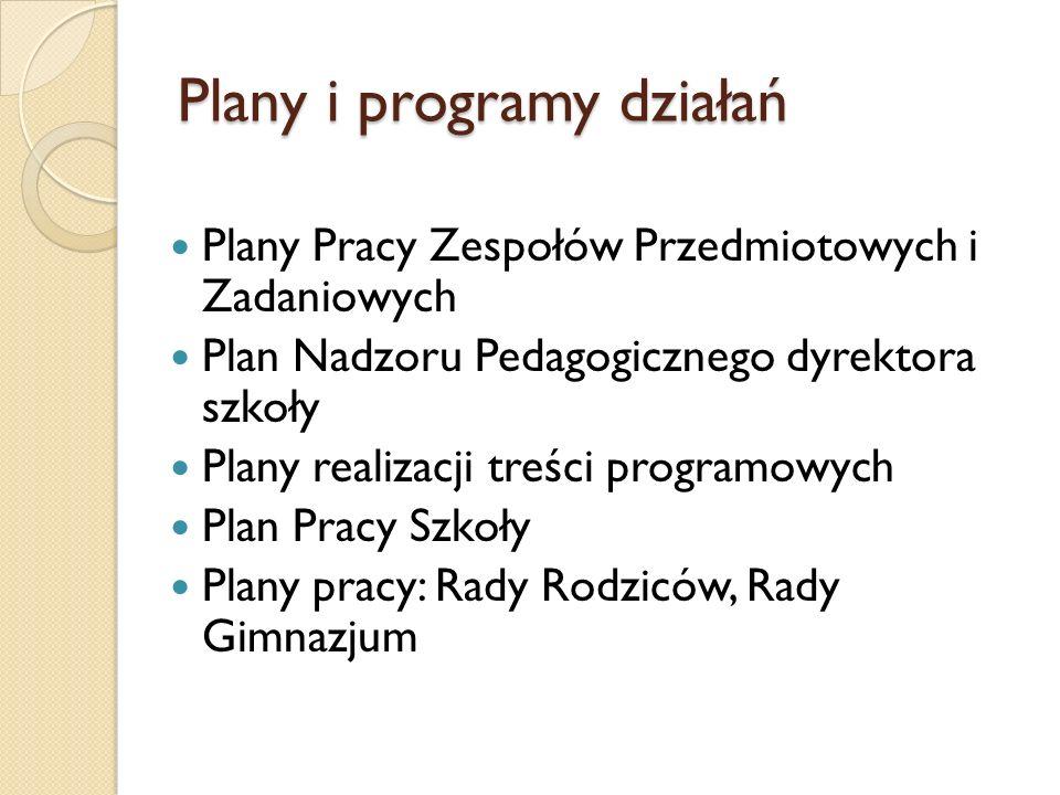 Plany i programy działań Plany Pracy Zespołów Przedmiotowych i Zadaniowych Plan Nadzoru Pedagogicznego dyrektora szkoły Plany realizacji treści progra