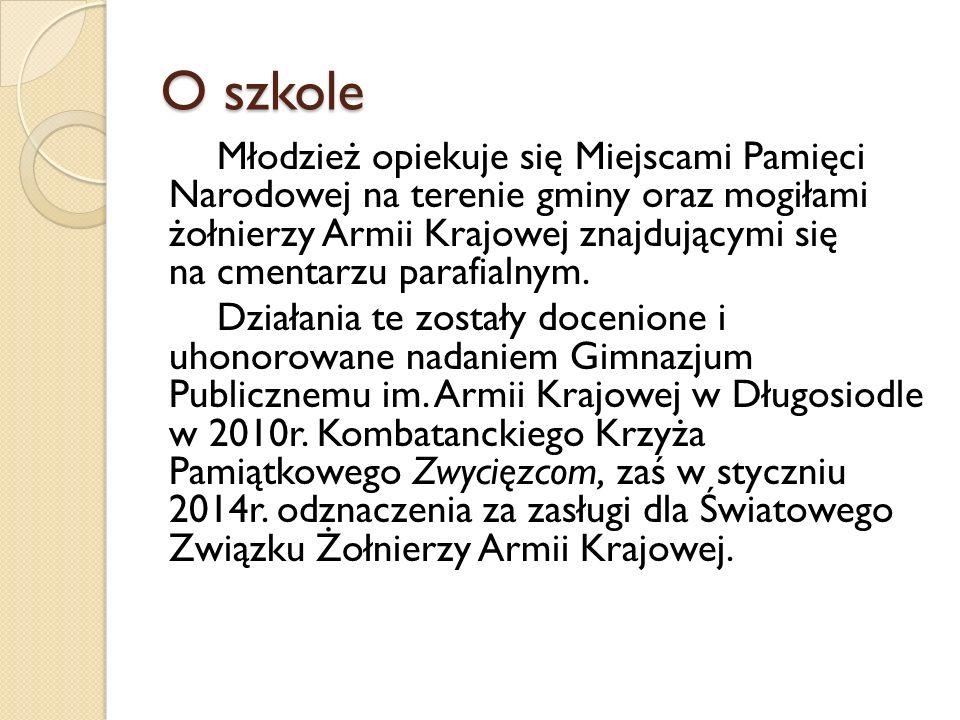 O szkole Młodzież opiekuje się Miejscami Pamięci Narodowej na terenie gminy oraz mogiłami żołnierzy Armii Krajowej znajdującymi się na cmentarzu parafialnym.