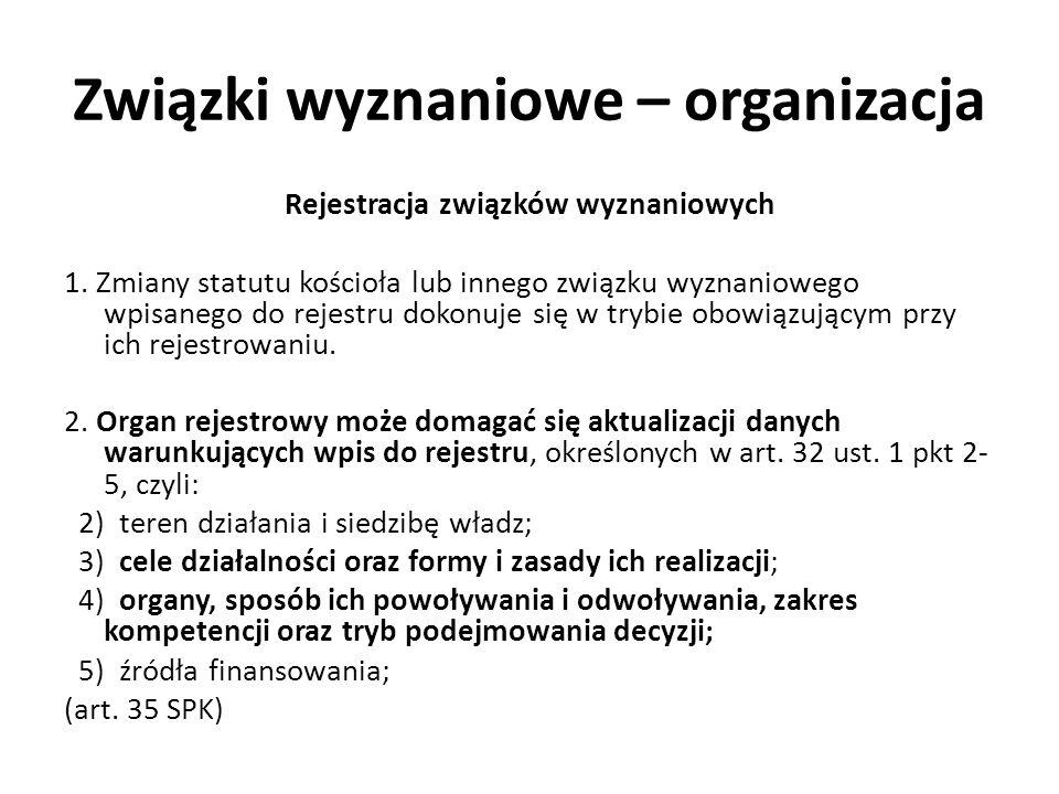 Związki wyznaniowe – organizacja Rejestracja związków wyznaniowych 1. Zmiany statutu kościoła lub innego związku wyznaniowego wpisanego do rejestru do