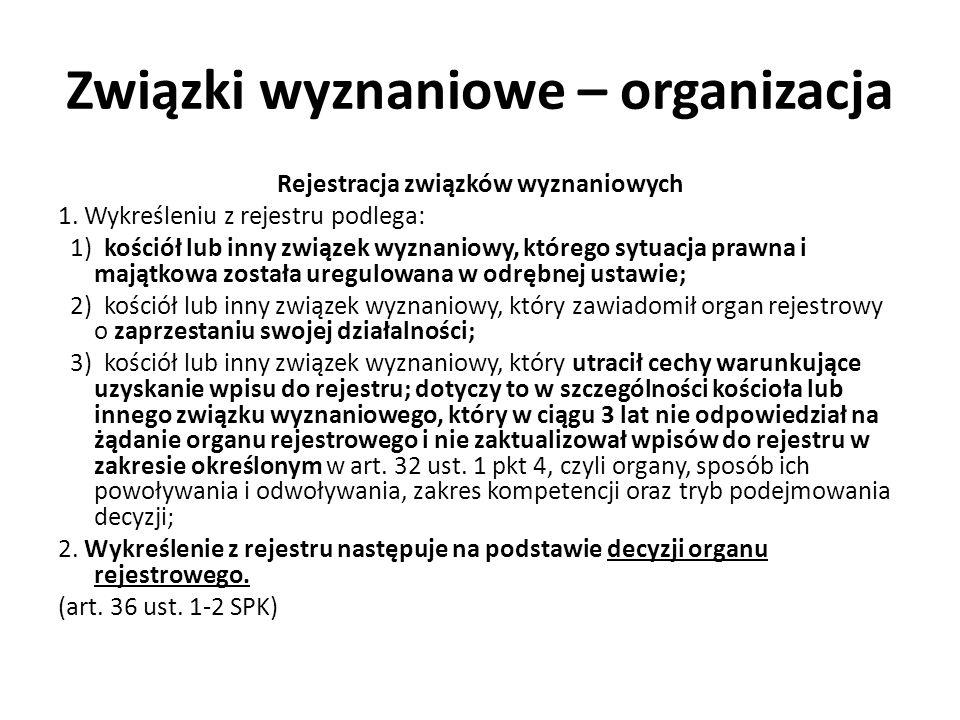 Związki wyznaniowe – organizacja Rejestracja związków wyznaniowych 1. Wykreśleniu z rejestru podlega: 1) kościół lub inny związek wyznaniowy, którego