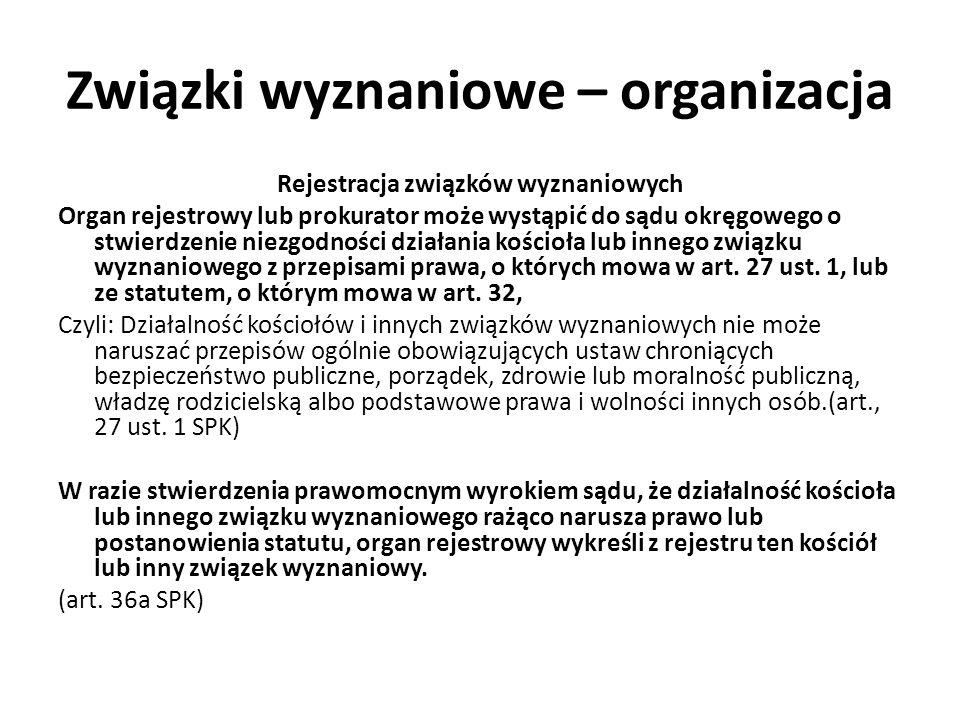 Związki wyznaniowe – organizacja Rejestracja związków wyznaniowych Organ rejestrowy lub prokurator może wystąpić do sądu okręgowego o stwierdzenie nie