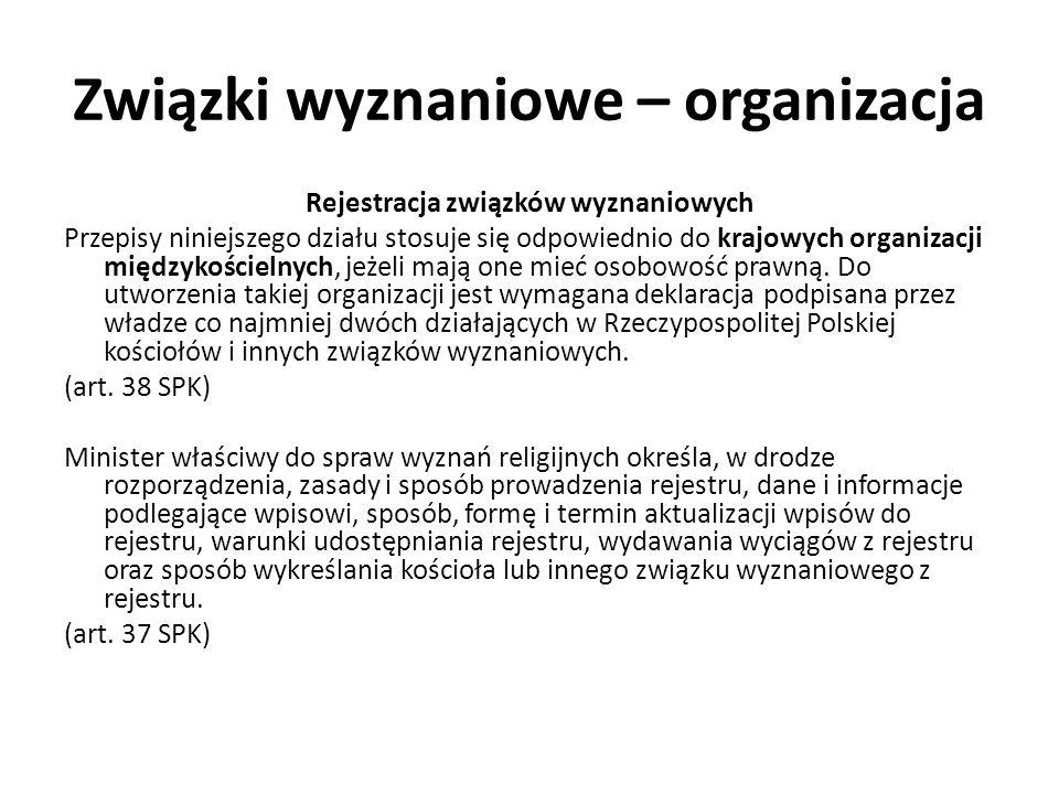 Związki wyznaniowe – organizacja Rejestracja związków wyznaniowych Przepisy niniejszego działu stosuje się odpowiednio do krajowych organizacji między