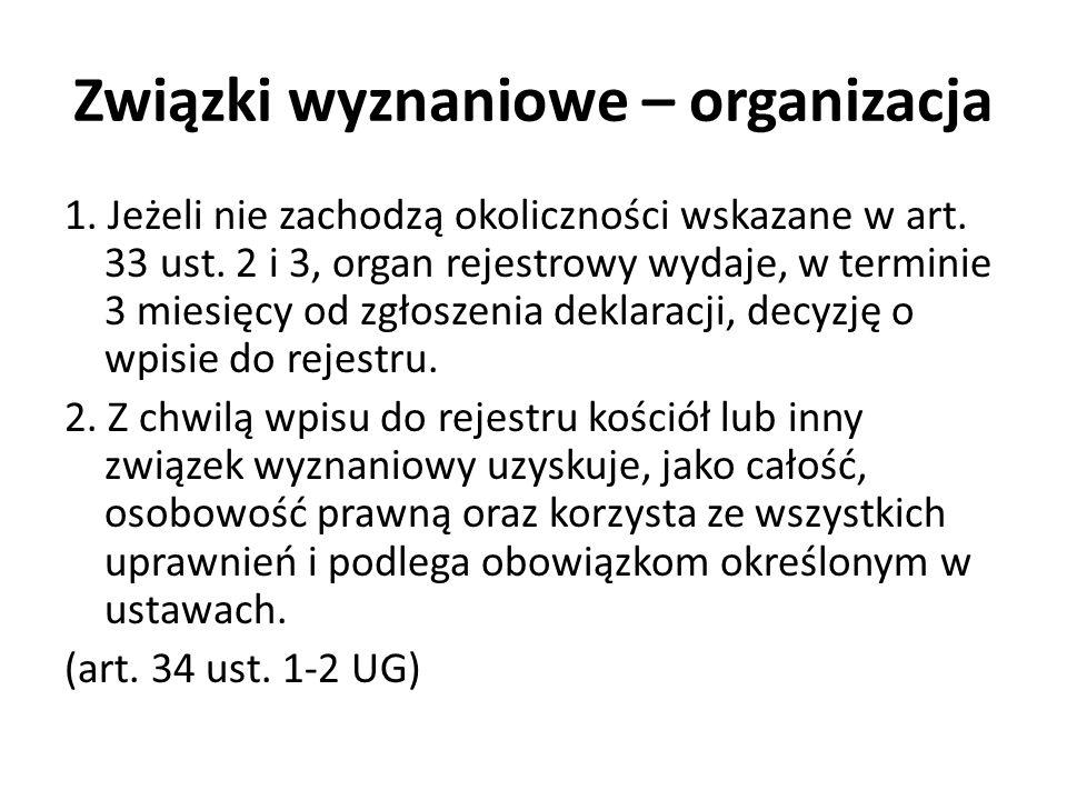 Związki wyznaniowe – organizacja 1. Jeżeli nie zachodzą okoliczności wskazane w art. 33 ust. 2 i 3, organ rejestrowy wydaje, w terminie 3 miesięcy od