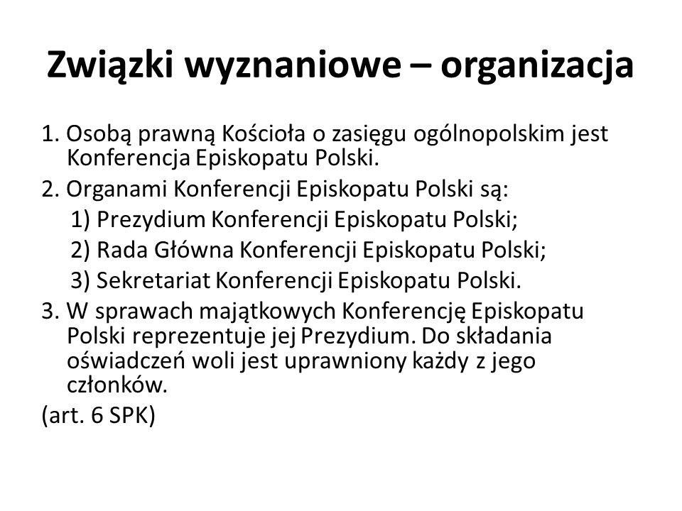 Związki wyznaniowe – organizacja 1. Osobą prawną Kościoła o zasięgu ogólnopolskim jest Konferencja Episkopatu Polski. 2. Organami Konferencji Episkopa