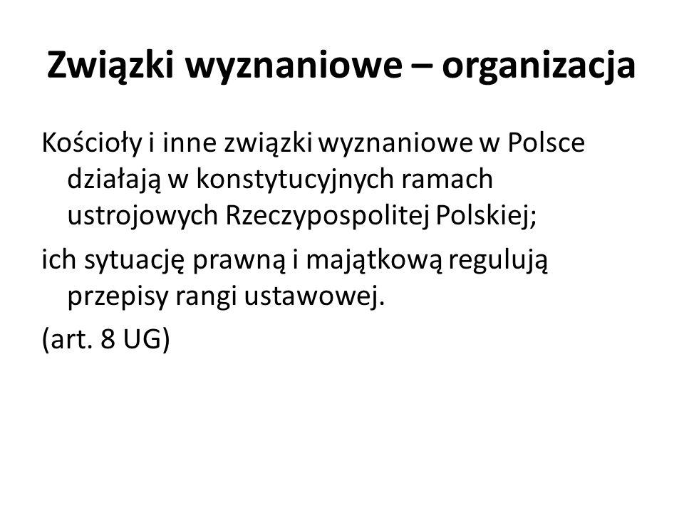 Związki wyznaniowe – organizacja Kościoły i inne związki wyznaniowe w Polsce działają w konstytucyjnych ramach ustrojowych Rzeczypospolitej Polskiej;
