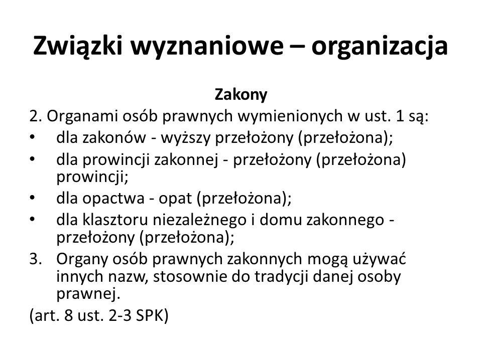 Związki wyznaniowe – organizacja Zakony 2. Organami osób prawnych wymienionych w ust. 1 są: dla zakonów - wyższy przełożony (przełożona); dla prowincj