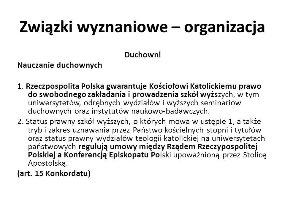 Związki wyznaniowe – organizacja Duchowni Nauczanie duchownych 1. Rzeczpospolita Polska gwarantuje Kościołowi Katolickiemu prawo do swobodnego zakłada
