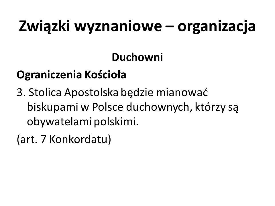 Związki wyznaniowe – organizacja Duchowni Ograniczenia Kościoła 3. Stolica Apostolska będzie mianować biskupami w Polsce duchownych, którzy są obywate