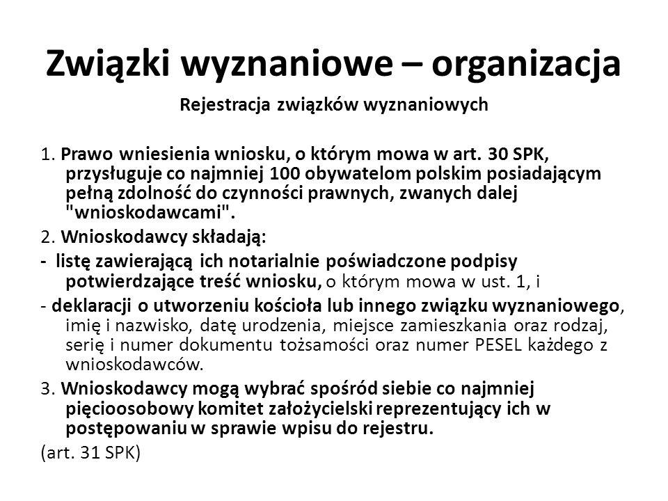 Związki wyznaniowe – organizacja Rejestracja związków wyznaniowych 1. Prawo wniesienia wniosku, o którym mowa w art. 30 SPK, przysługuje co najmniej 1