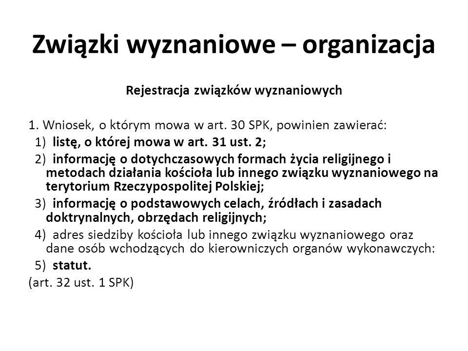 Związki wyznaniowe – organizacja Rejestracja związków wyznaniowych 1. Wniosek, o którym mowa w art. 30 SPK, powinien zawierać: 1) listę, o której mowa