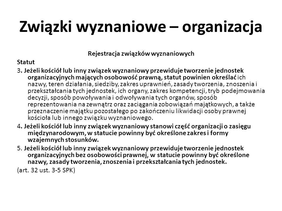 Związki wyznaniowe – organizacja Rejestracja związków wyznaniowych Statut 3. Jeżeli kościół lub inny związek wyznaniowy przewiduje tworzenie jednostek