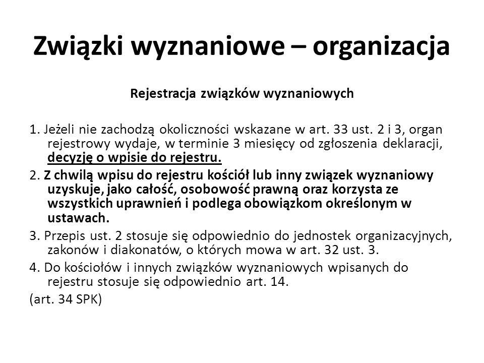 Związki wyznaniowe – organizacja Rejestracja związków wyznaniowych 1. Jeżeli nie zachodzą okoliczności wskazane w art. 33 ust. 2 i 3, organ rejestrowy