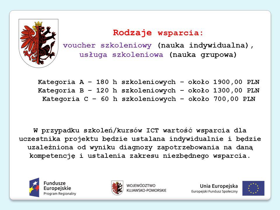 Rodzaje wsparcia: voucher szkoleniowy (nauka indywidualna), usługa szkoleniowa (nauka grupowa) Kategoria A – 180 h szkoleniowych – około 1900,00 PLN K