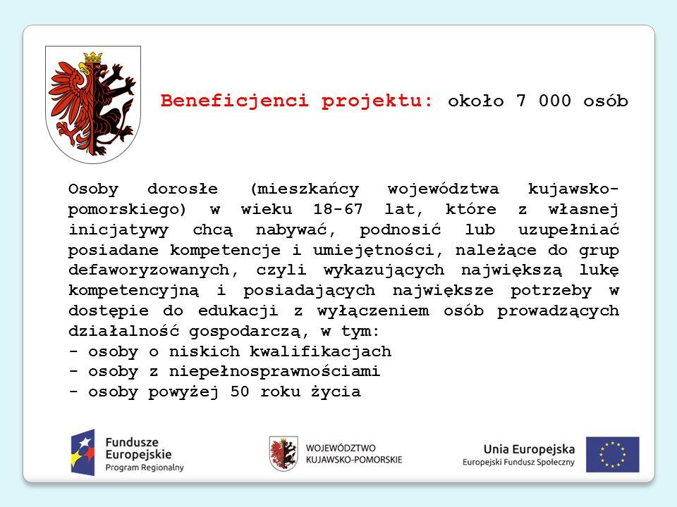 Beneficjenci projektu: około 7 000 osób Osoby dorosłe (mieszkańcy województwa kujawsko- pomorskiego) w wieku 18-67 lat, które z własnej inicjatywy chc