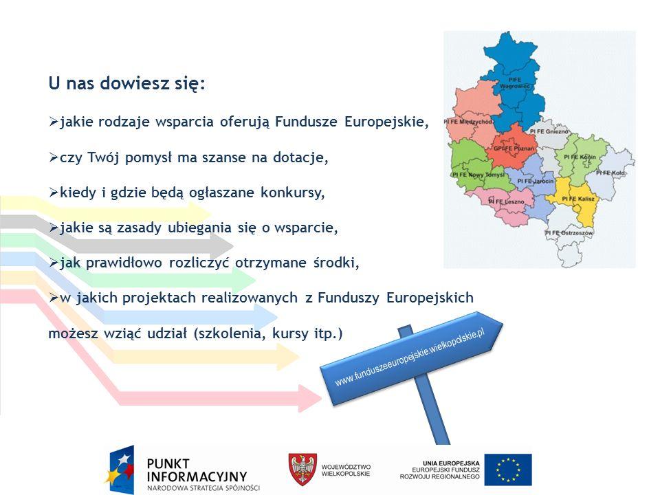 U nas dowiesz się:  jakie rodzaje wsparcia oferują Fundusze Europejskie,  czy Twój pomysł ma szanse na dotacje,  kiedy i gdzie będą ogłaszane konkursy,  jakie są zasady ubiegania się o wsparcie,  jak prawidłowo rozliczyć otrzymane środki,  w jakich projektach realizowanych z Funduszy Europejskich możesz wziąć udział (szkolenia, kursy itp.) www.funduszeeuropejskie.wielkopolskie.pl