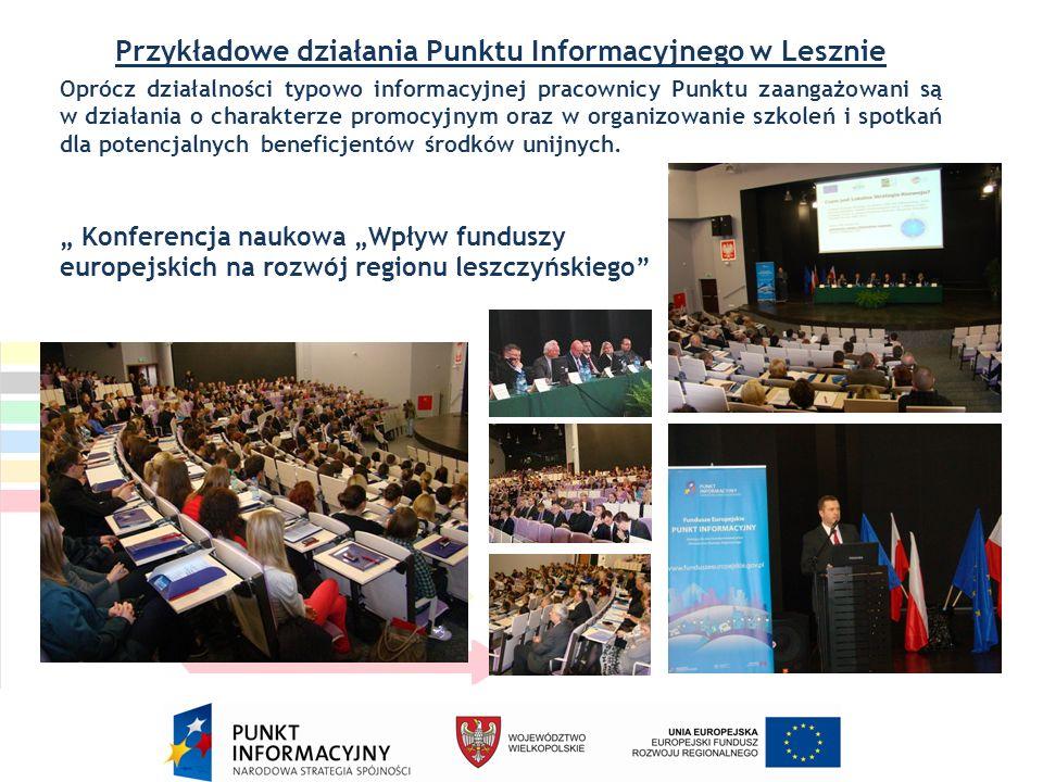 Przykładowe działania Punktu Informacyjnego w Lesznie Oprócz działalności typowo informacyjnej pracownicy Punktu zaangażowani są w działania o charakterze promocyjnym oraz w organizowanie szkoleń i spotkań dla potencjalnych beneficjentów środków unijnych.