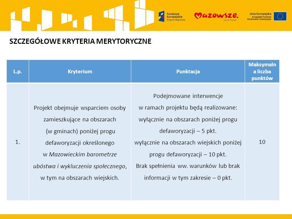 L.p.KryteriumPunktacja Maksymaln a liczba punktów 1.