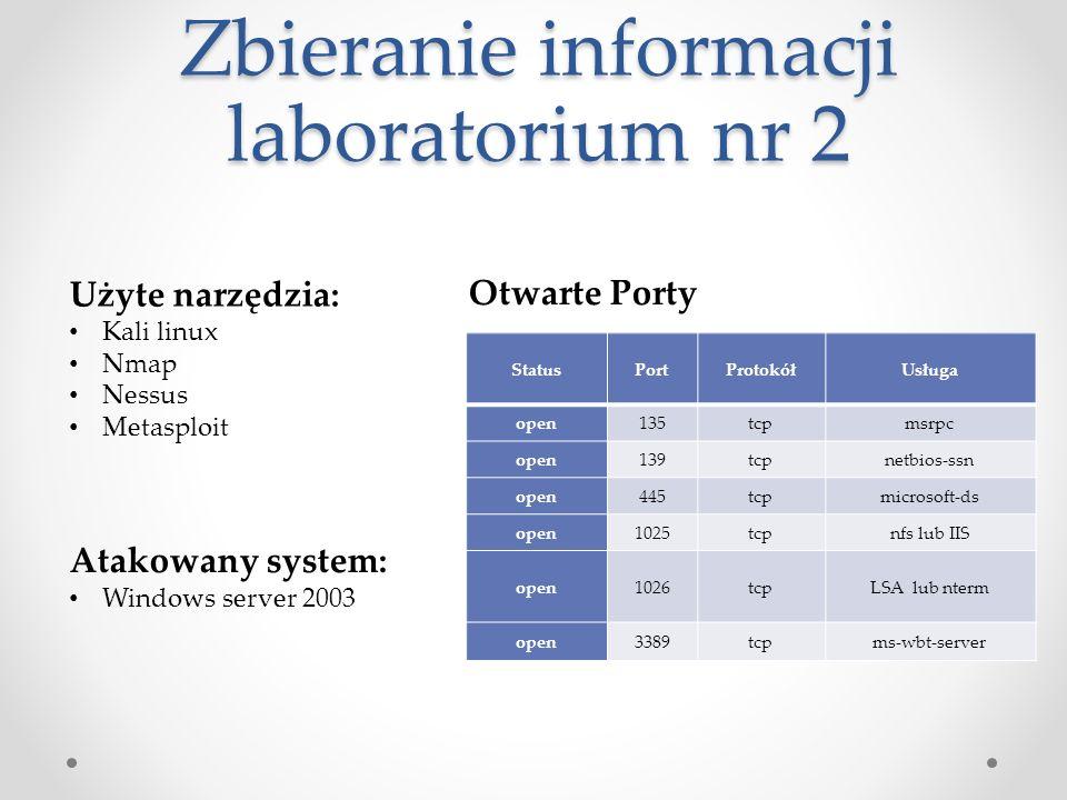 Zbieranie informacji laboratorium nr 2 Użyte narzędzia: Kali linux Nmap Nessus Metasploit StatusPortProtokółUsługa open135tcpmsrpc open139tcpnetbios-ssn open445tcpmicrosoft-ds open1025tcpnfs lub IIS open1026tcpLSA lub nterm open3389tcpms-wbt-server Otwarte Porty Atakowany system: Windows server 2003
