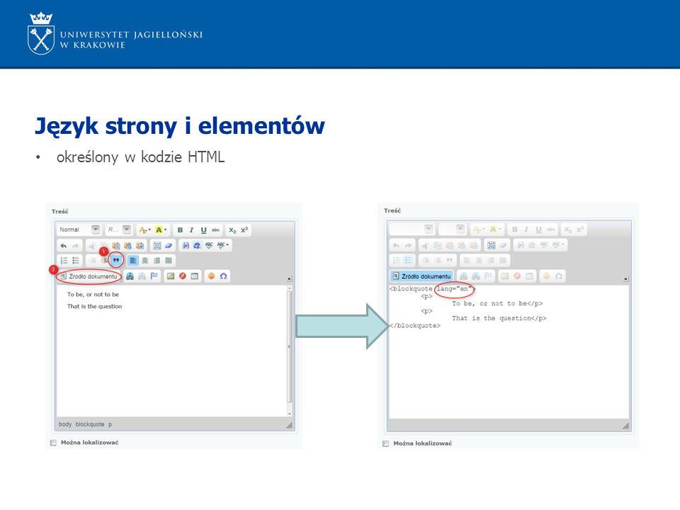 Język strony i elementów określony w kodzie HTML