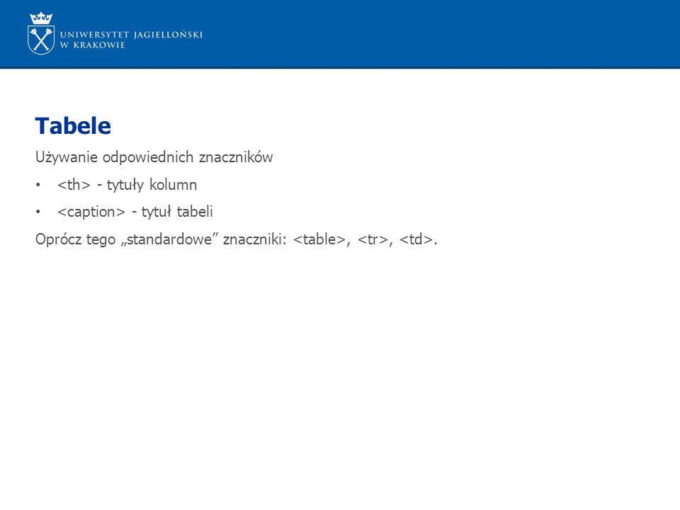 """Tabele Używanie odpowiednich znaczników - tytuły kolumn - tytuł tabeli Oprócz tego """"standardowe znaczniki:,,."""