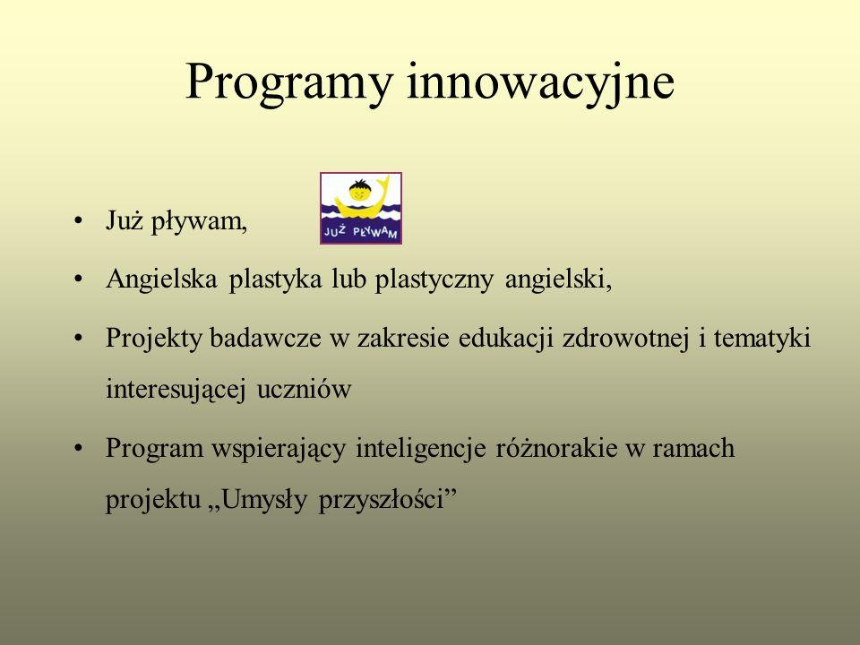 """Programy innowacyjne Już pływam, Angielska plastyka lub plastyczny angielski, Projekty badawcze w zakresie edukacji zdrowotnej i tematyki interesującej uczniów Program wspierający inteligencje różnorakie w ramach projektu """"Umysły przyszłości"""