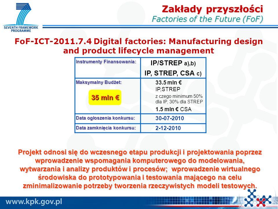 FoF-ICT-2011.7.4 Digital factories: Manufacturing design and product lifecycle management Zakłady przyszłości Factories of the Future (FoF) Instrumenty Finansowania: IP/STREP a),b) IP, STREP, CSA c) Maksymalny Budżet: 33.5 mln € IP,STREP z czego minimum 50% dla IP, 30% dla STREP 1.5 mln € CSA Data ogłoszenia konkursu: 30-07-2010 Data zamknięcia konkursu: 2-12-2010 35 mln € Projekt odnosi się do wczesnego etapu produkcji i projektowania poprzez wprowadzenie wspomagania komputerowego do modelowania, wytwarzania i analizy produktów i procesów; wprowadzenie wirtualnego środowiska do prototypowania i testowania mającego na celu zminimalizowanie potrzeby tworzenia rzeczywistych modeli testowych.