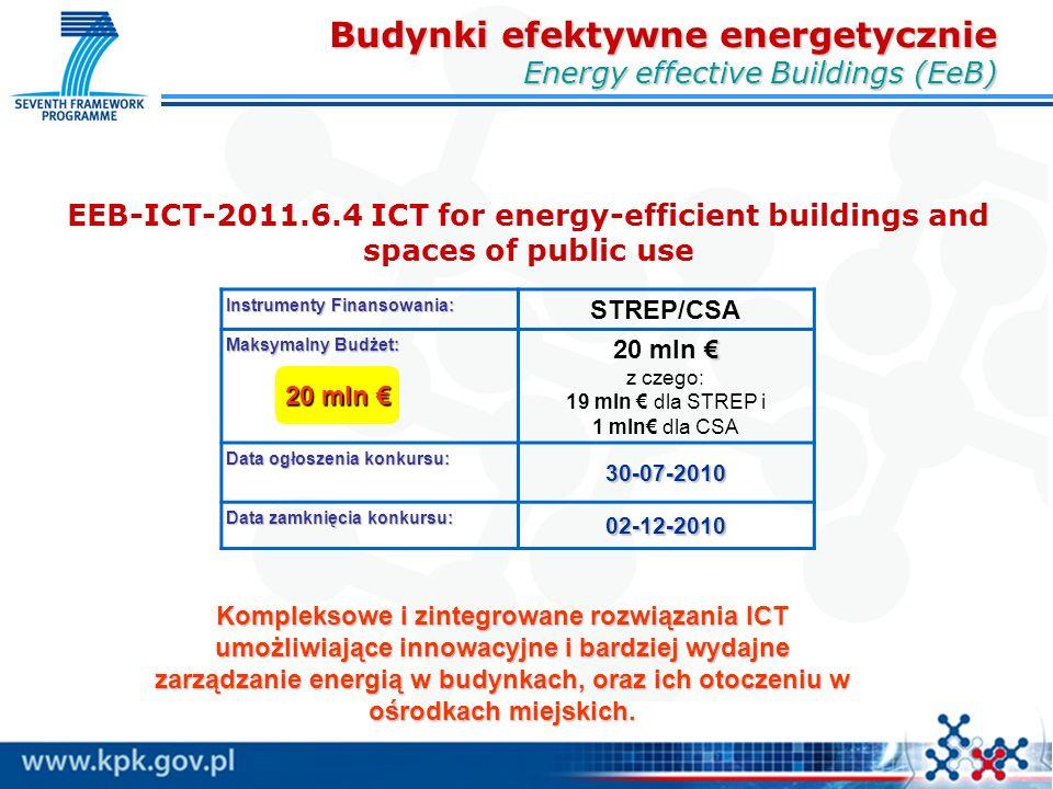 EEB-ICT-2011.6.4 ICT for energy-efficient buildings and spaces of public use Instrumenty Finansowania: STREP/CSA Maksymalny Budżet: € 20 mln € z czego: 19 mln € dla STREP i 1 mln€ dla CSA Data ogłoszenia konkursu: 30-07-2010 Data zamknięcia konkursu: 02-12-2010 20 mln € Kompleksowe i zintegrowane rozwiązania ICT umożliwiające innowacyjne i bardziej wydajne zarządzanie energią w budynkach, oraz ich otoczeniu w ośrodkach miejskich.