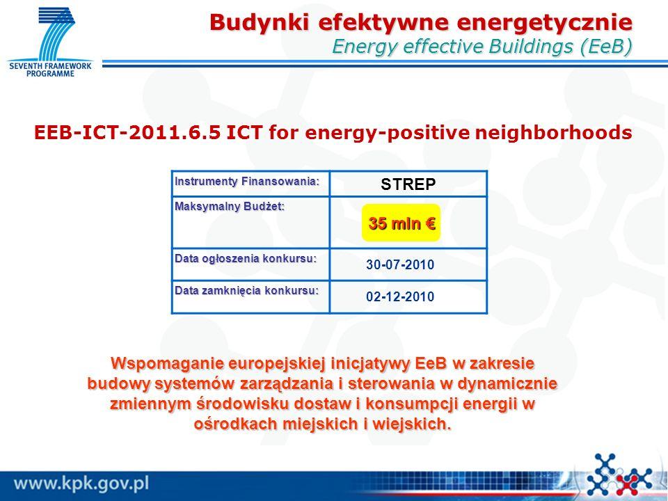 EEB-ICT-2011.6.5 ICT for energy-positive neighborhoods Instrumenty Finansowania: STREP Maksymalny Budżet: Data ogłoszenia konkursu: 30-07-2010 Data zamknięcia konkursu: 02-12-2010 35 mln € Budynki efektywne energetycznie Energy effective Buildings (EeB) Wspomaganie europejskiej inicjatywy EeB w zakresie budowy systemów zarządzania i sterowania w dynamicznie zmiennym środowisku dostaw i konsumpcji energii w ośrodkach miejskich i wiejskich.